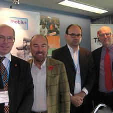 Brian Souter and Tom Steinberg (Centre) flanked by event partners Mark Cartwright and Peter Stonham (left and right) after the opening pleniary session.