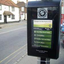 Increasing opportunities for information provision are occuring with the introduction of new bus stop display systems like this newly introduced Buckinghamshire system.