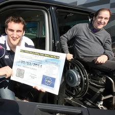 Welsh Rugby Union Captain Sam Warbuton and badge user Paul Davies with the new style Blue Badge