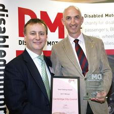 Sean Cleary of Cambridge City Council (right) collects his award from Martin Harvey from Wake Smith LLP at the 2011 event