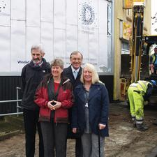 Wales' finance minister Jane Hutt (second from left) visiting a Newport footway renewal scheme