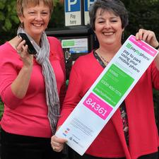Angele Reeves of PayByPhone with Glynnis Jeavons, parking services manager at Walsall Council
