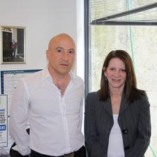 Costas Constantinou of FlashPark with Lynne Featherstone