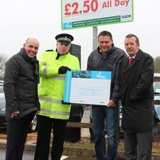 L-R: Michael Gardner (BPA), PC Gordon Scott (Staffordshire Police), Phillip Grant (Gallan Parking) and Chris Salmon (Pritchard Group)