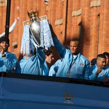 The Man City team celebrate their Premiership victory