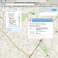 An example of live roadworks and traffic data on the ELGIN roadworks.org website