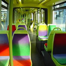 French panache: the trams in Grenoble have had fun with colour inside and out