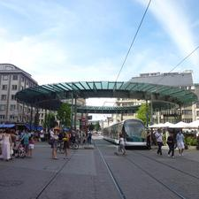 The iconic canopy of Homme de Fer Station in Strasbourg is a landmark proudly featured in local postcards. This is an example of reclaiming street space from cars.