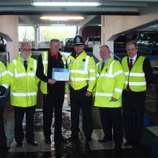 Pictured: David Rutter, The Potteries customer services manager; Frank Rigby, Europa facilities manager; Stuart Hollins, Europa car park supervisor;  Inspector Shaun Kerrigan of Staffordshire Police, Michael Steele, The Potteries operations manager and Ian Taberner, Staffordshire Police architectural liaison officer