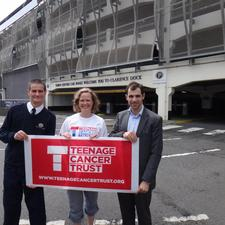 The Teenage Cancer Trust's Abby Batchelor flanked by Joe Kennedy (left) and Ben Ziff of TCCP