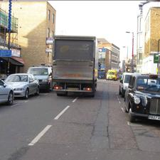 Great Suffolk Street in Southwark – before. An all-too-common streetscene