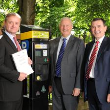 Simon Richardson and Geoff Alister of DRDNI and NSL CEO Mark Underwood