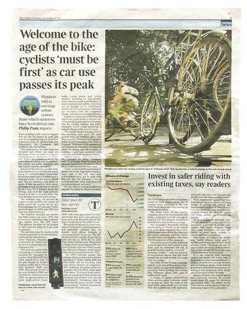 The Times this week launched the second phase of its 'Cities Fit for Cycling' campaign. As part of the coverage, it ran an article discussing 'peak car' theory