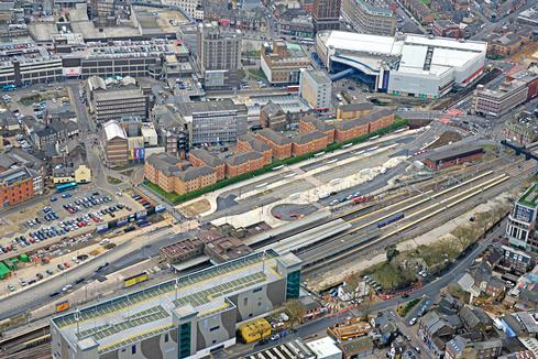 Aerial view of the bus interchange at Luton rail station
