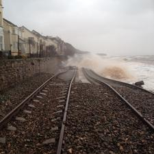 The railway line on the south west coast at Dawlish was swept away yesterday