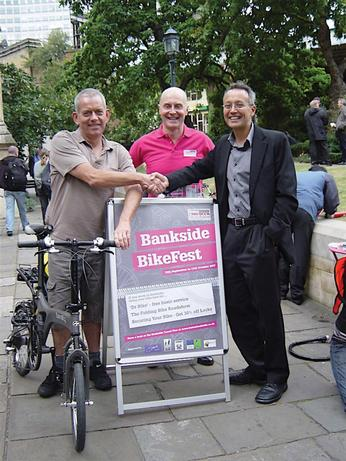 Launch of Better Bankside Bikefest. Giles Semper (centre) with Barry Mason of Southwark Cyclists (left) and Koy Thomson of London Cycling Campaign (right)