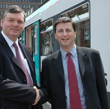 GMPTE chair Roger Jones with Douglas Alexander at the funding announcement