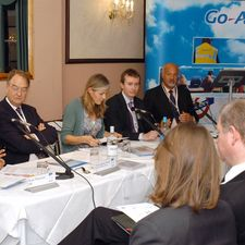 The Transit and Go Ahead fringe meeting in Bournemouth. Left to right: Transport minister Rosie Winterton, Professor Stephen Glaister, Observer environment editor Juliette Jowit, Russell Marsh of the Green Alliance, and Go Ahead chief executive Keith Ludeman
