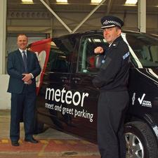 Mark Anglim, UK operations manager for Meteor meet and greet parking with Superintendent Johnny Johncox from East Surrey police