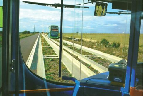 At a closing speed of over 160kph, buses pass on the Cambridgeshire guided busway