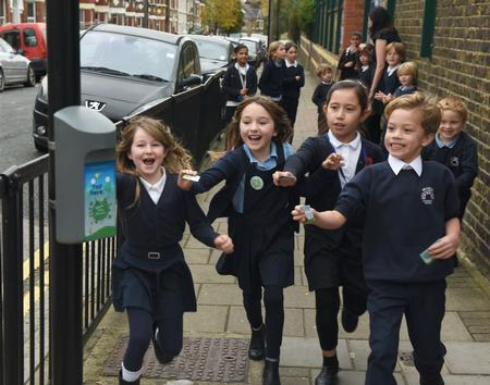 Children at Millfields Community School, Hackney, take the Beat the Street challenge