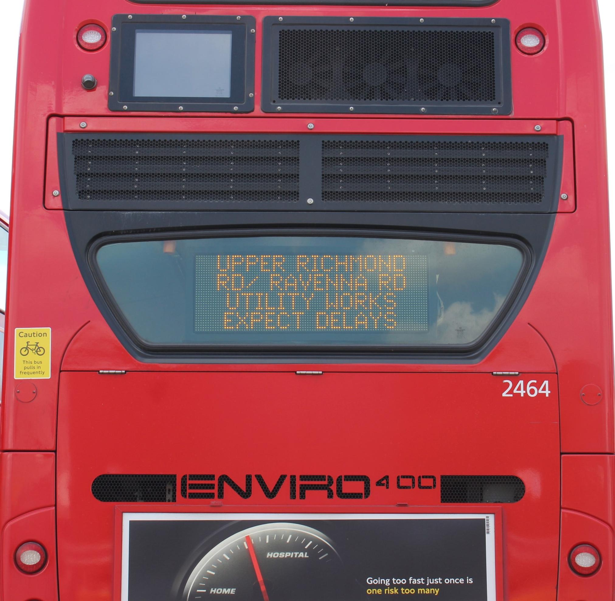 Real-time information is being displayed on the back of the 344 bus between Clapham Junction and Liverpool Street