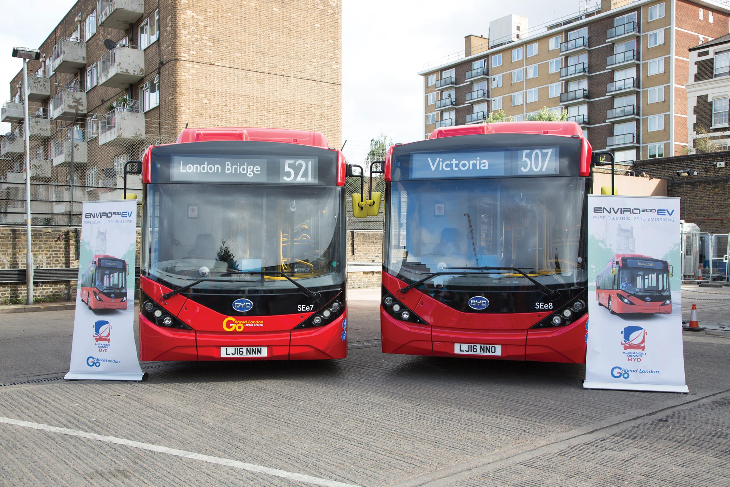 Two london bus routes go all electric for 52 time table