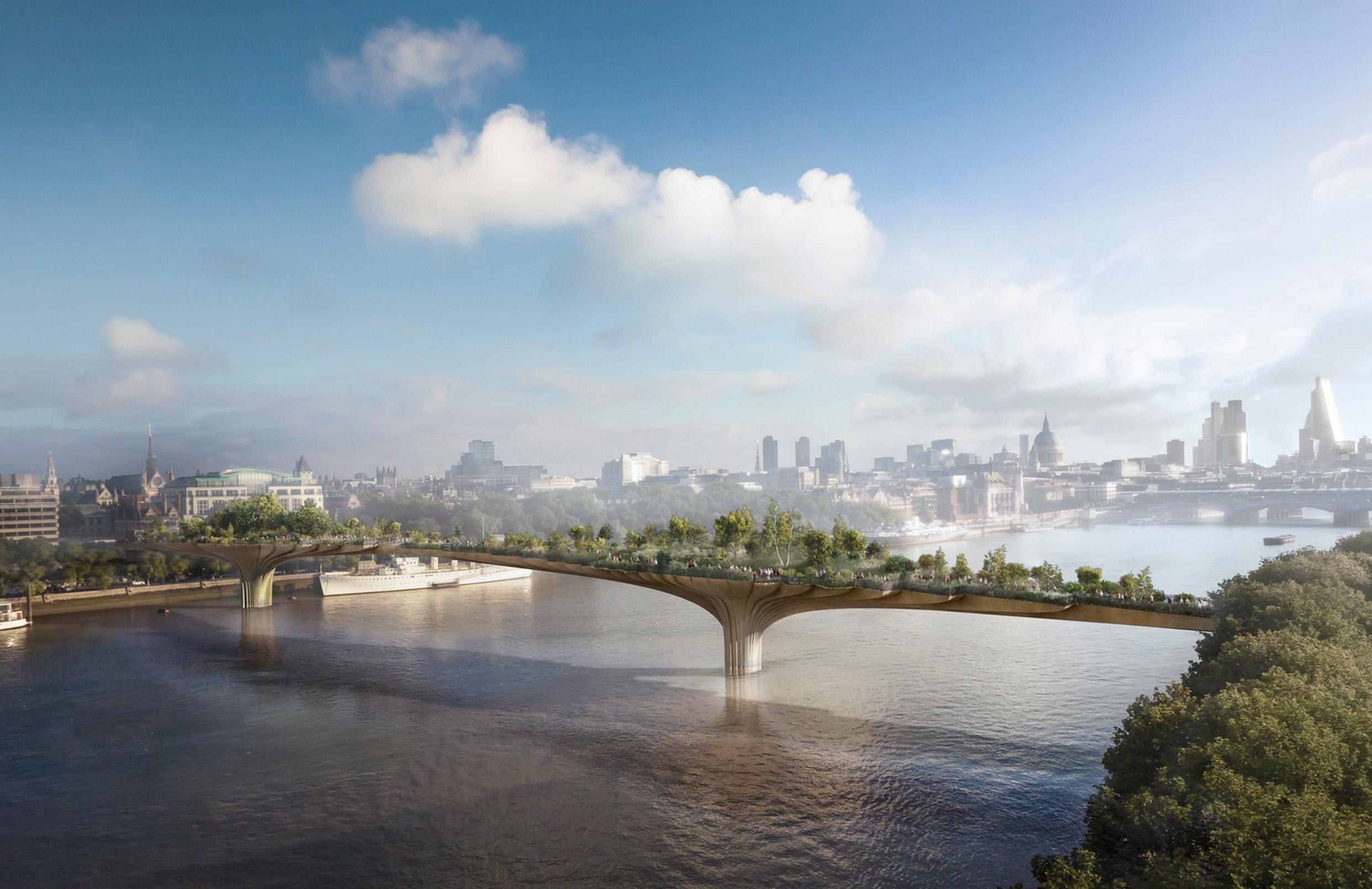 CGI presentation of the Garden Bridge, which has been designed by Thomas Heatherwick
