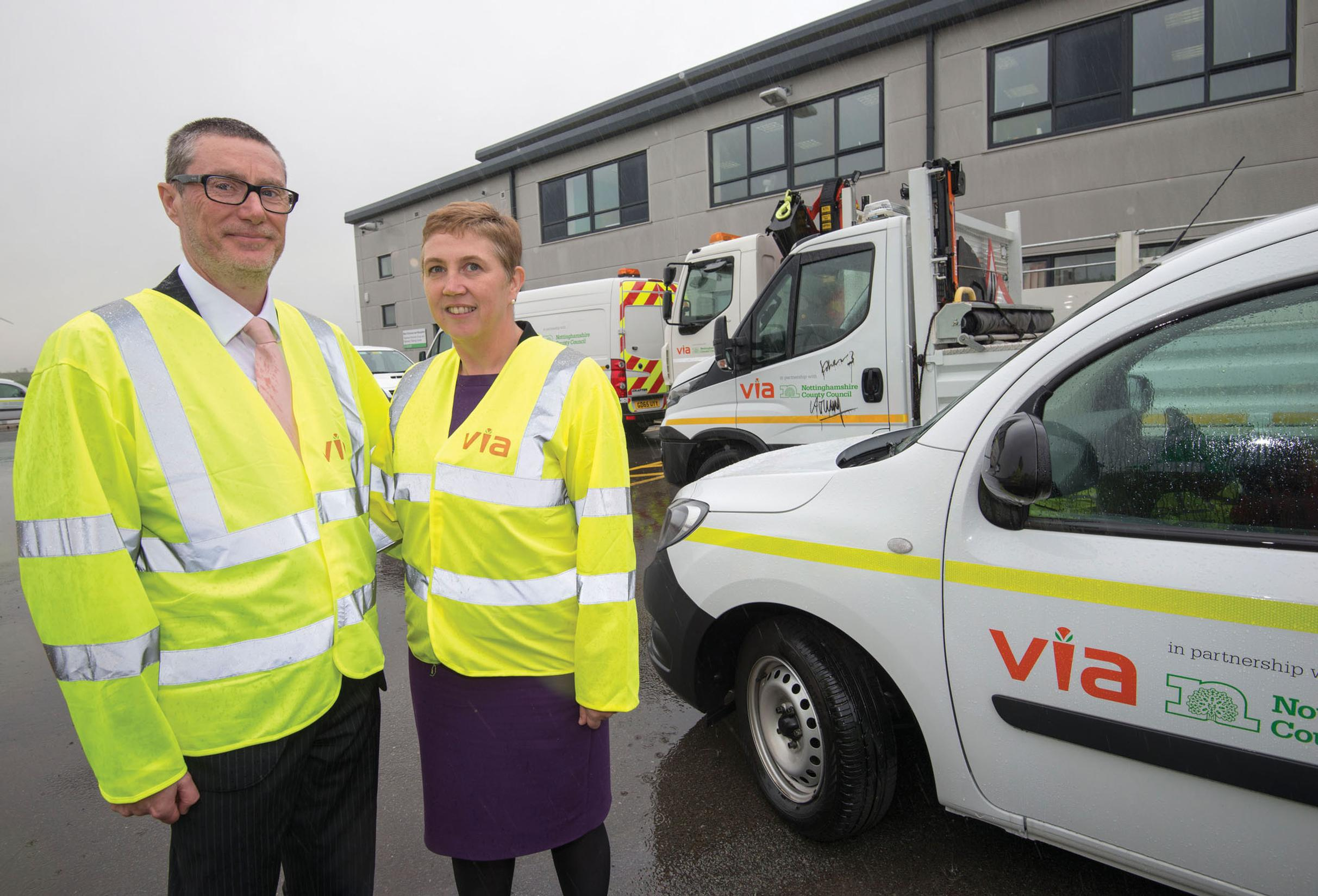 Chief executive of Nottinghamshire County Council Anthony May and Cornwall's chief executive Kate Kennally launch the fleet of newly-branded Via vehicles