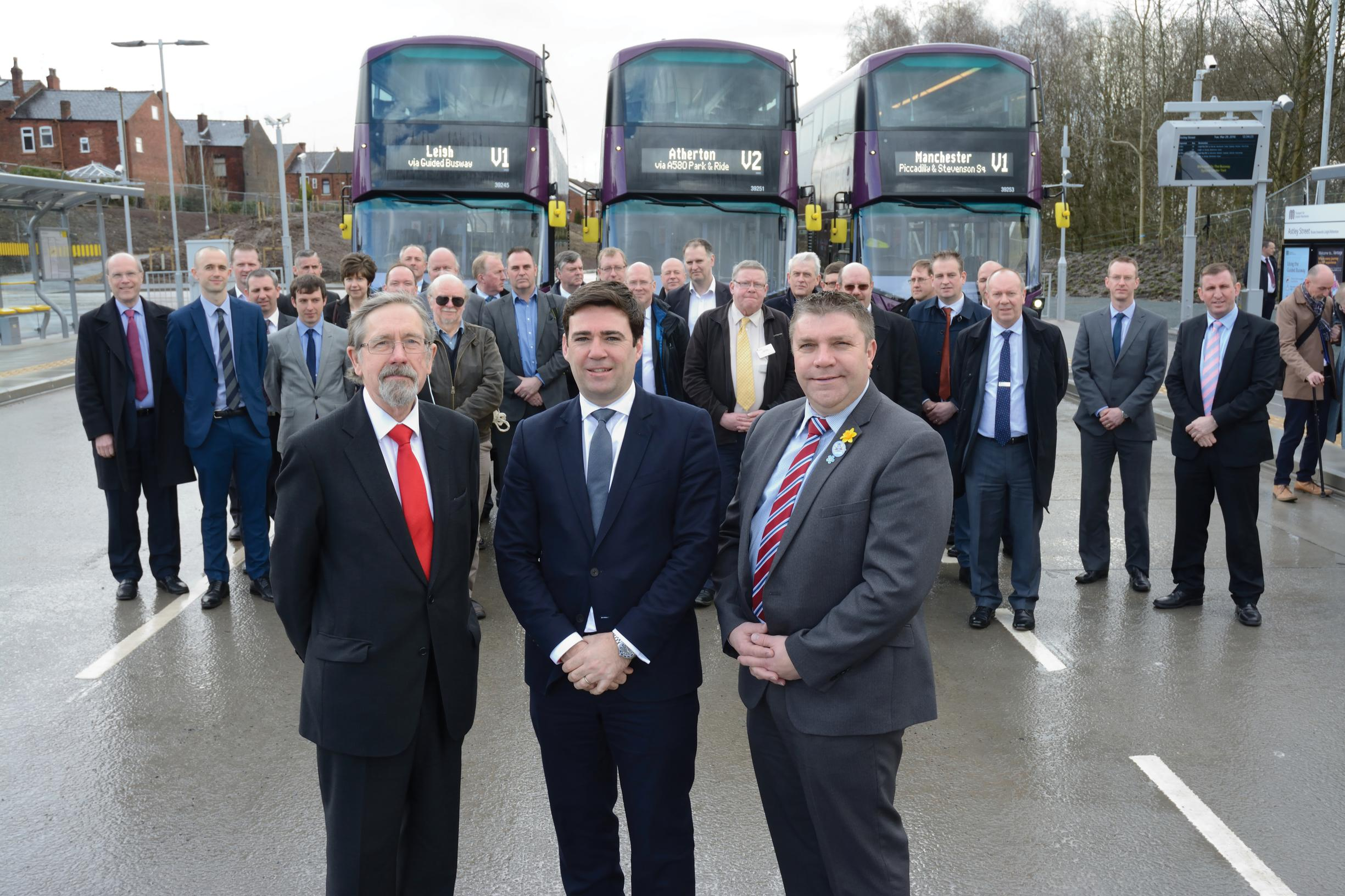 The grand opening: TfGMC's Cllr Andrew Fender with Andy Burnham MP and Cllr Mark Aldred