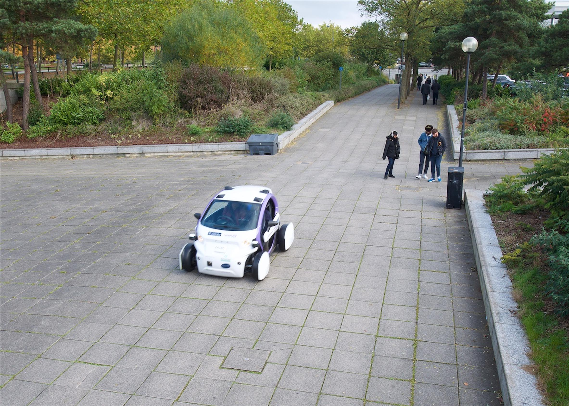 The LUTZ Pathfinder autonomous pod on the streets of Milton Keynes, which is hosting Smarter Travel LIVE!