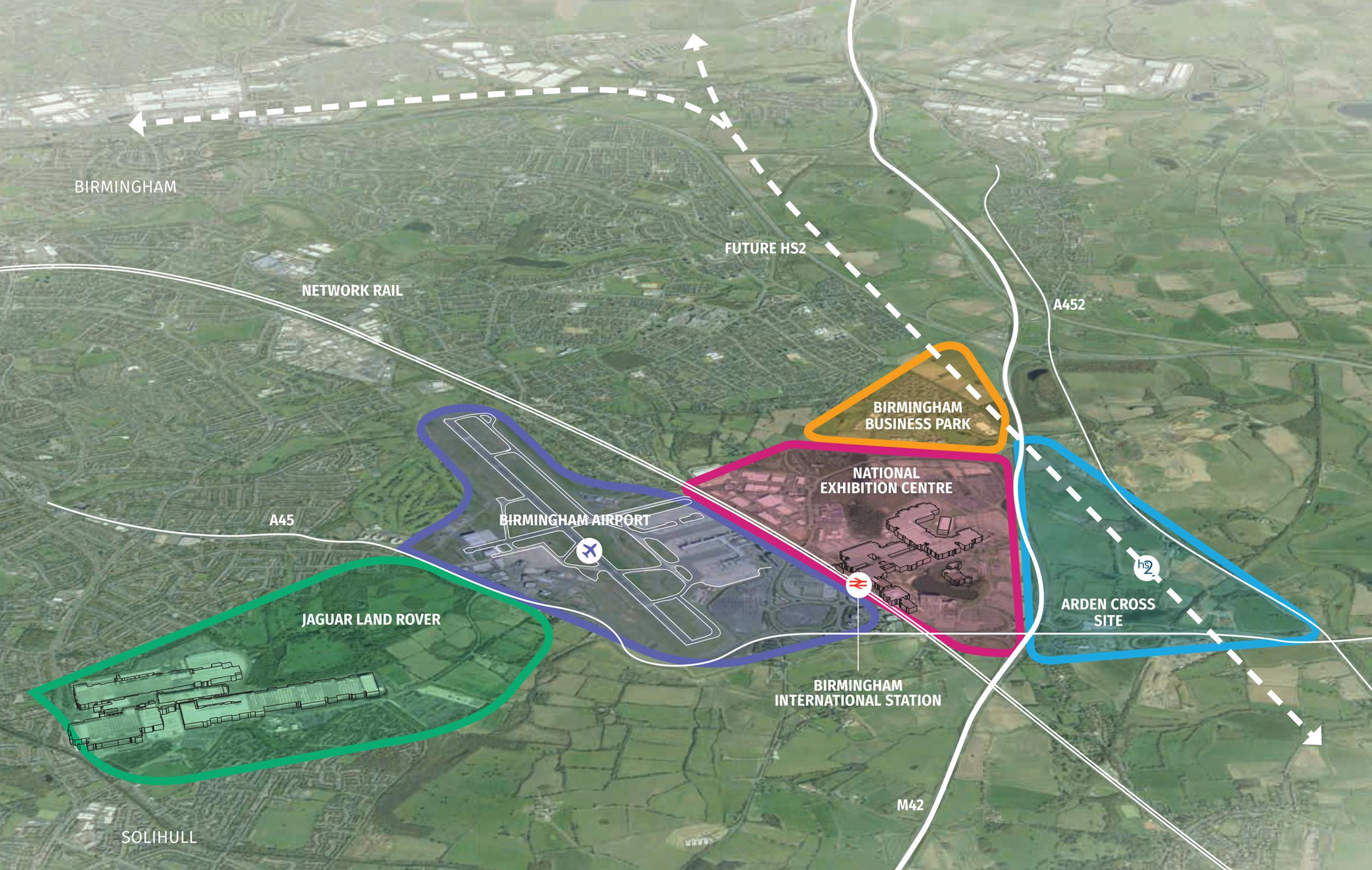 The image shows the main sites in UK Central. HS2 is the dotted line