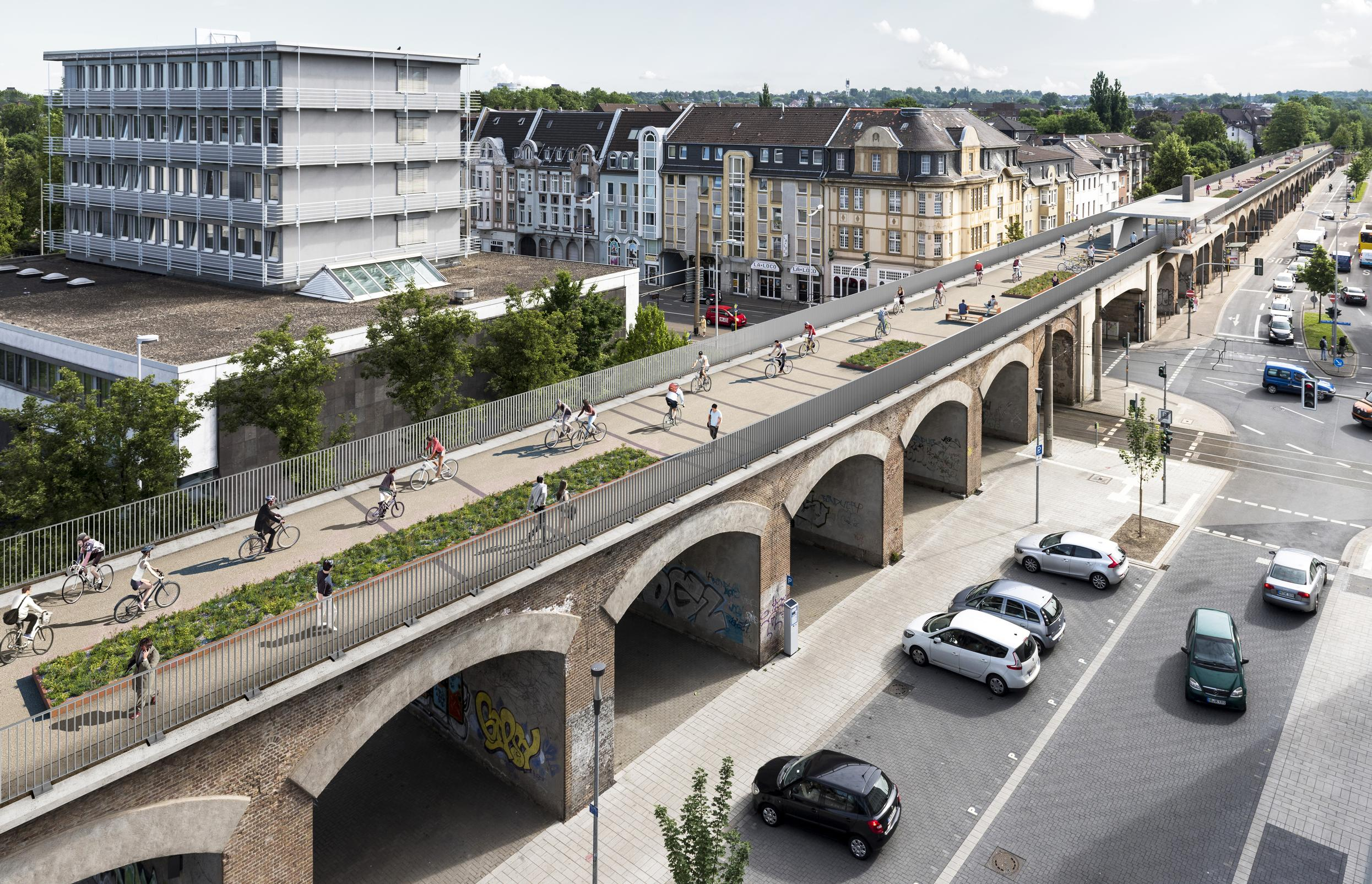 A region like the Ruhr, known as Germany's 'Rust Belt', needs strong connections in both the practical and figurative senses. The RS1 fulfils both the Ruhr`s technical and its spiritual needs, says Carsten. This illustration shows Mülheim's city viaduct to the bridge over the Ruhr