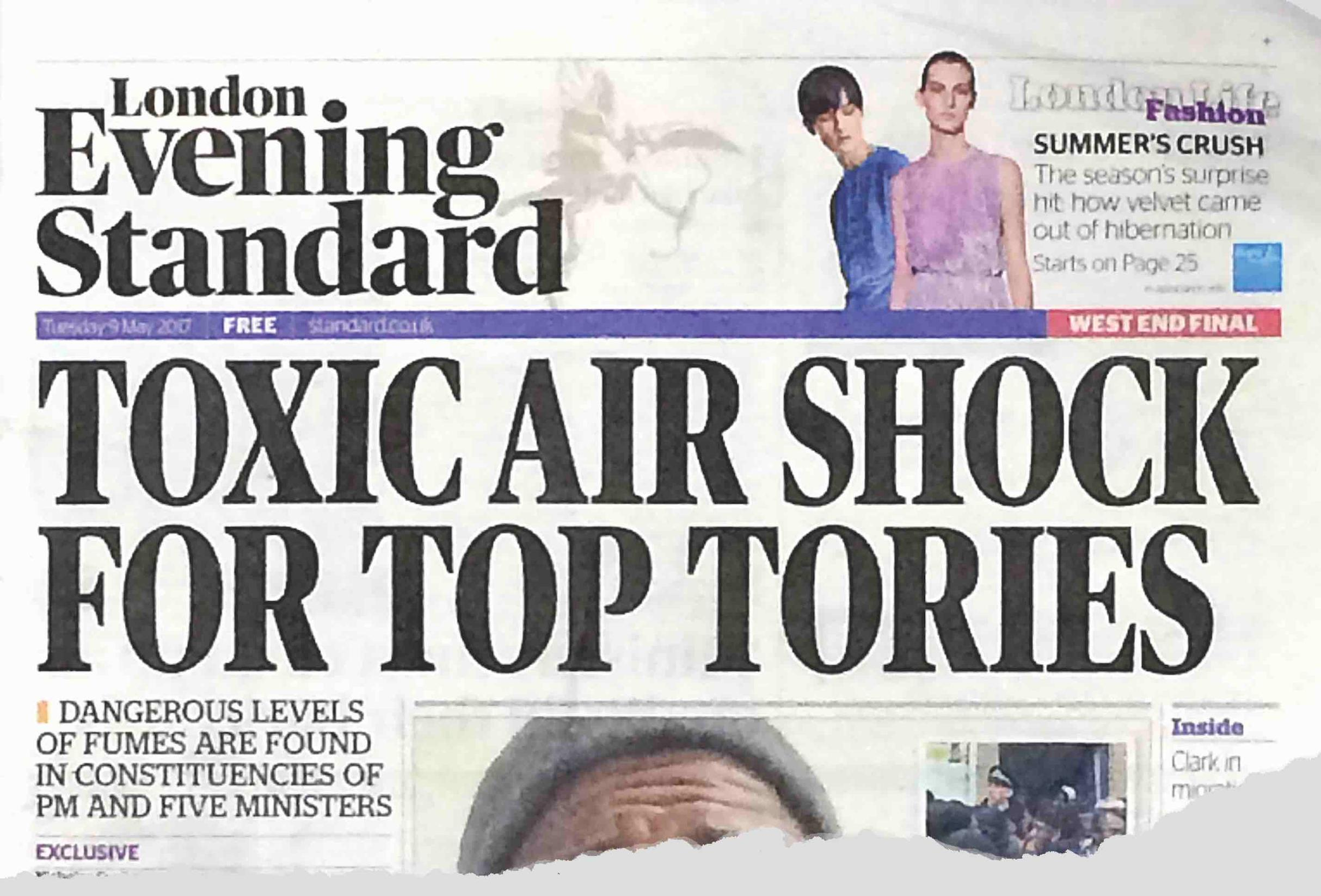 The Evening Standard suggested on 9 May that voters in Conservative constituencies were just as vulnerable to air pollution as anybody else