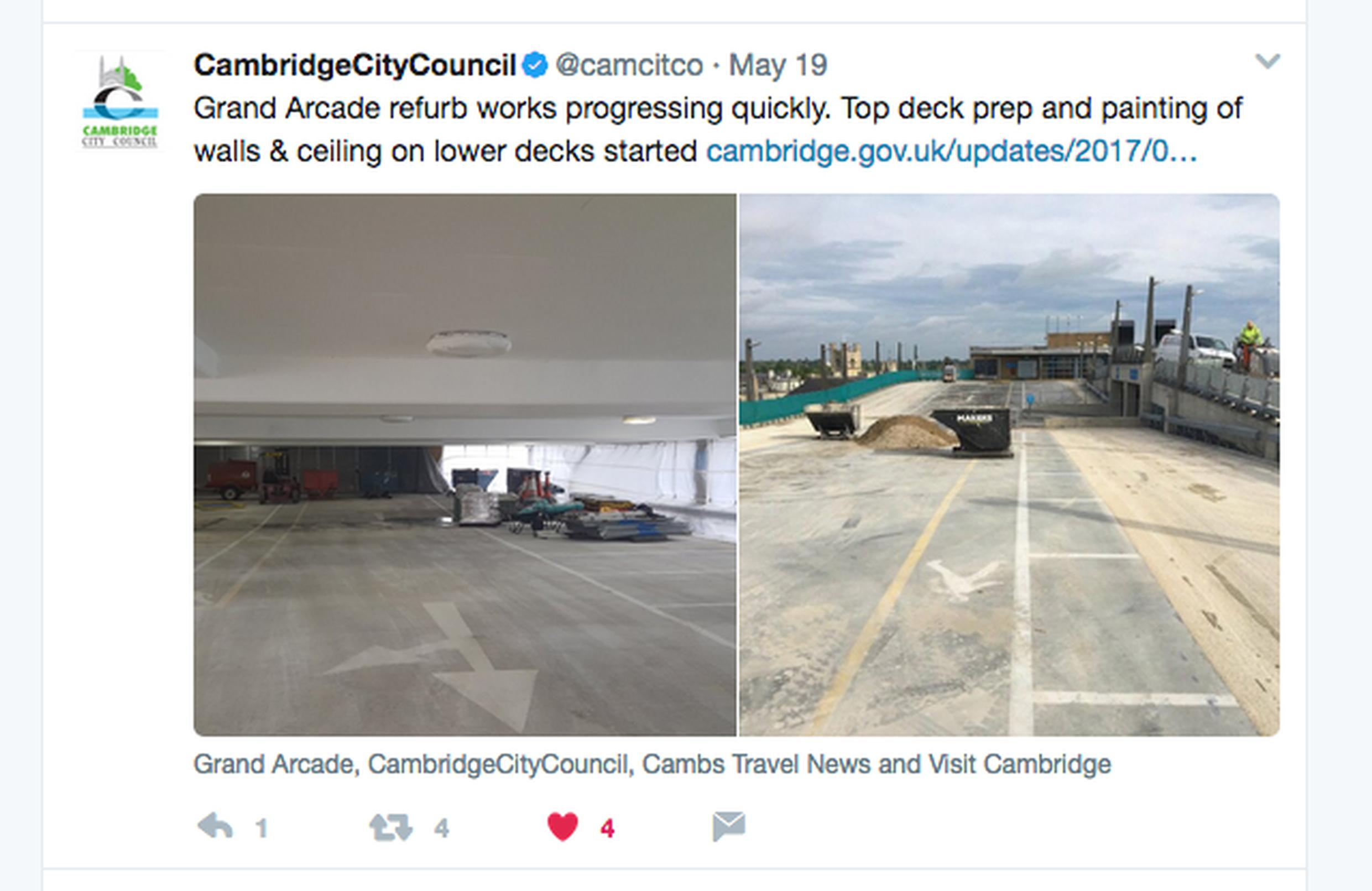 Cambridge City Council is using social media to keep residents, businesses and visitors up-to-date on progress on the car park improvement works