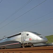 April 3, 2007, on the LGV Est line. This TGV trainset set a new world speed record for high speed rail of 574.8 km/h (357.2 mph)