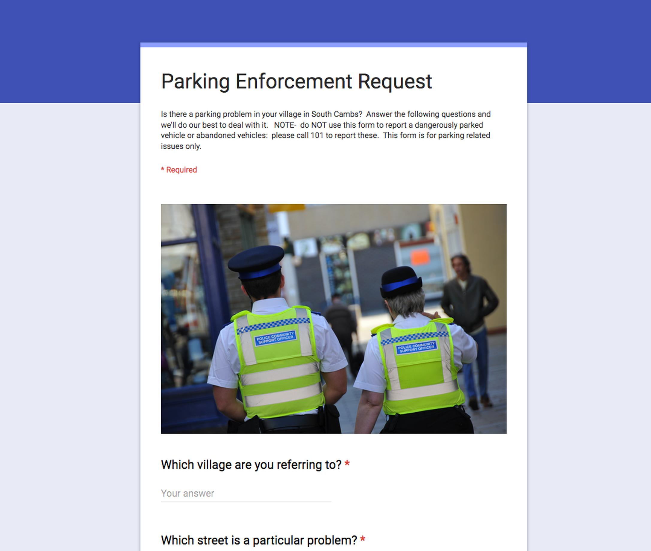 Police ask for bad parking reports
