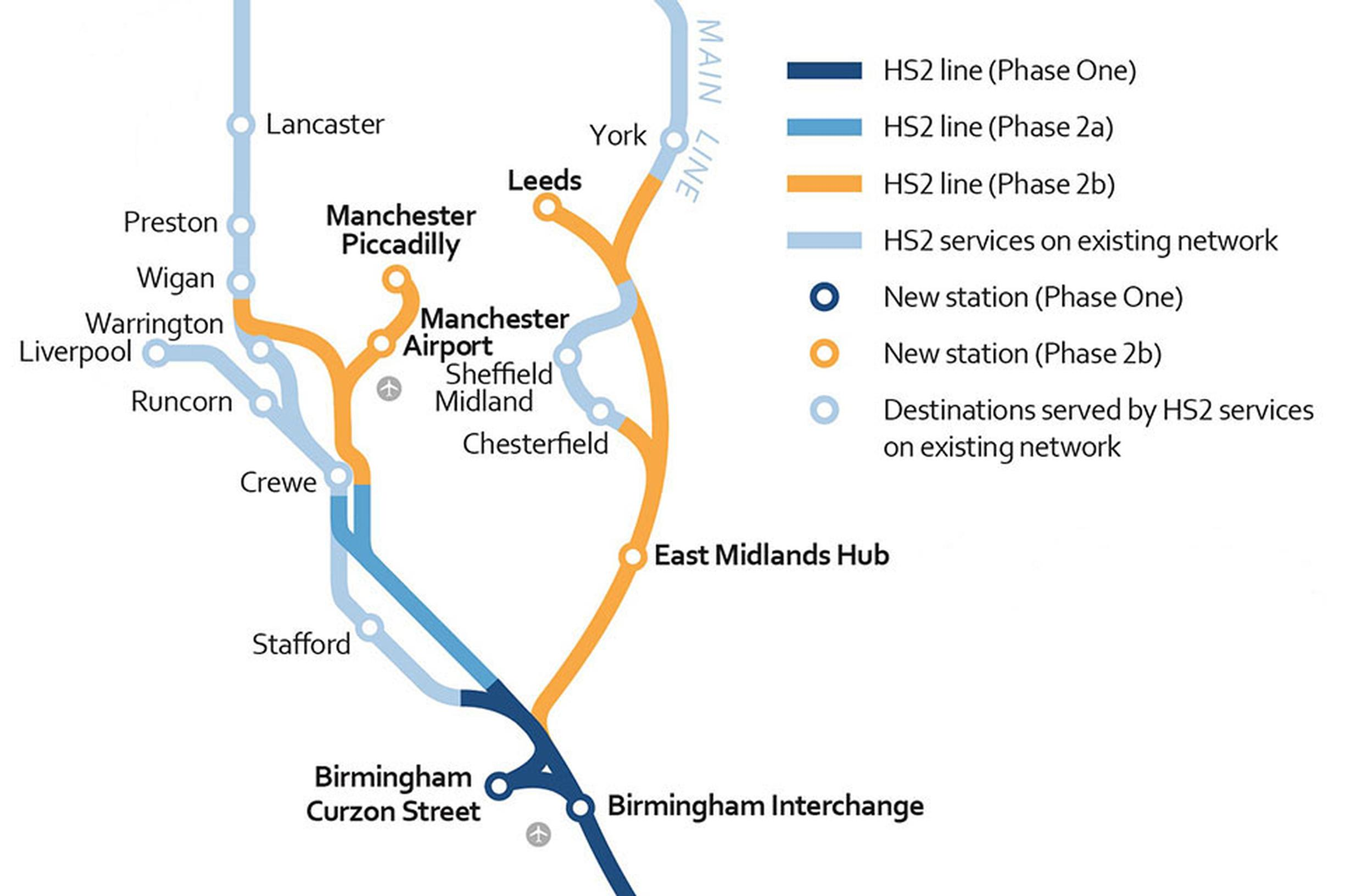 The HS2 phase 2 routes
