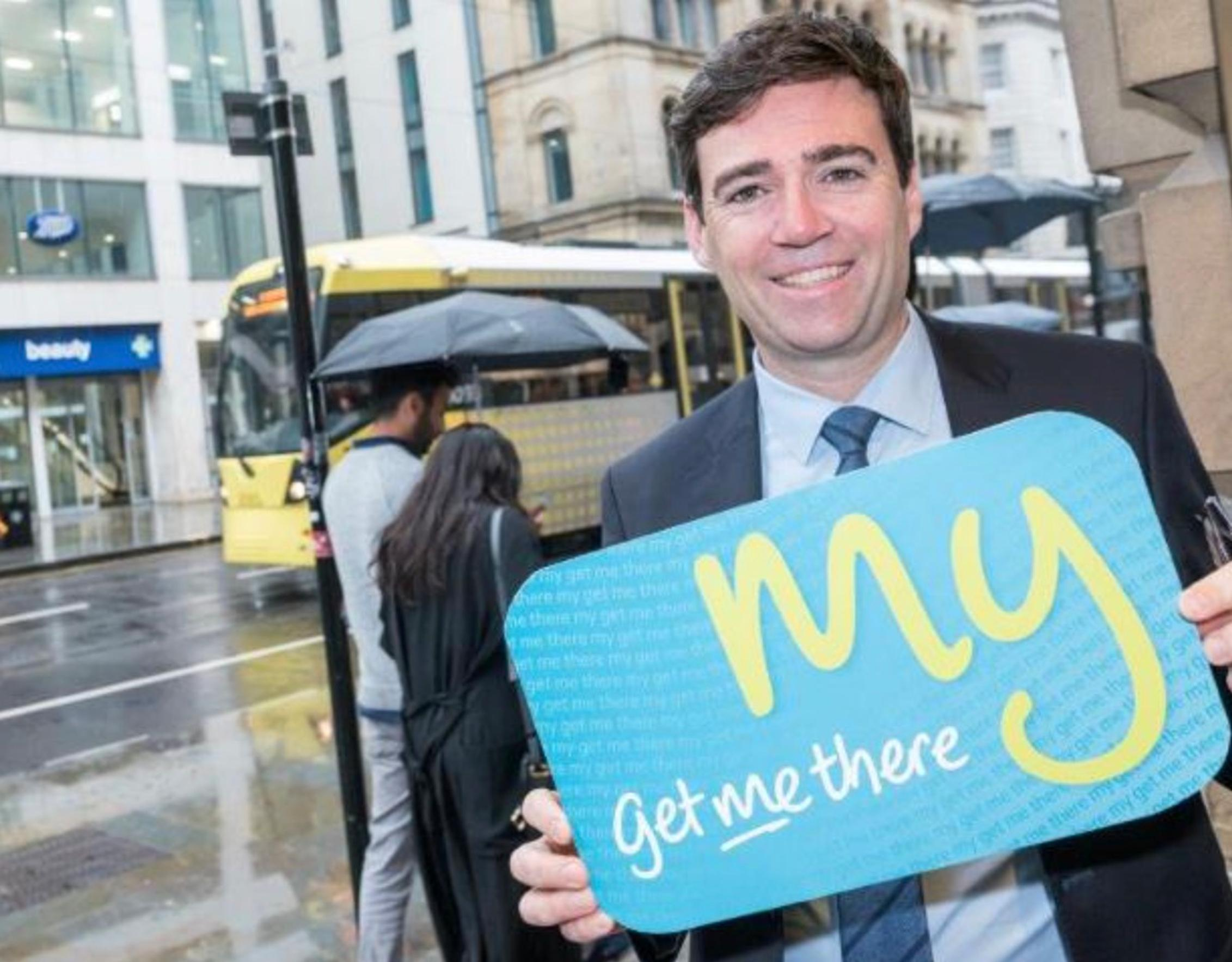 Andy Burnham, mayor of Greater Manchester, unveils the new `get me there` card