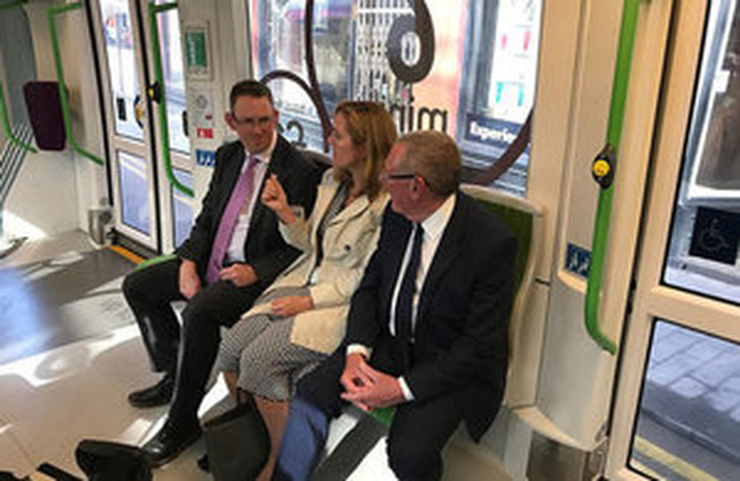 Transport minister Paul Maynard with Laura Shoaf, managing director of Transport for the West Midlands (TfWM) and Cllr Bob Sleigh OBE, deputy mayor of the West Midlands
