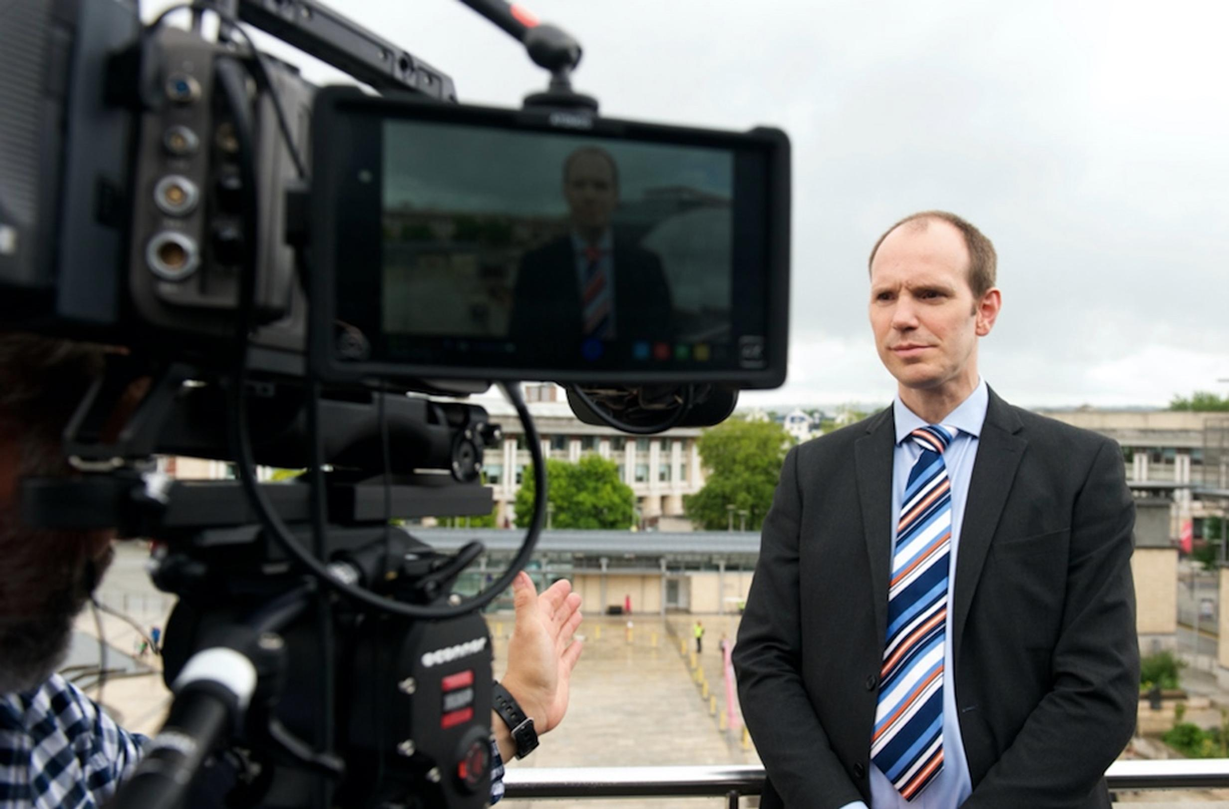Dr Wolfgang Schuster being interviewed at the VENTURER Consortium`s public showcase day in Bristol`s Millennium Square