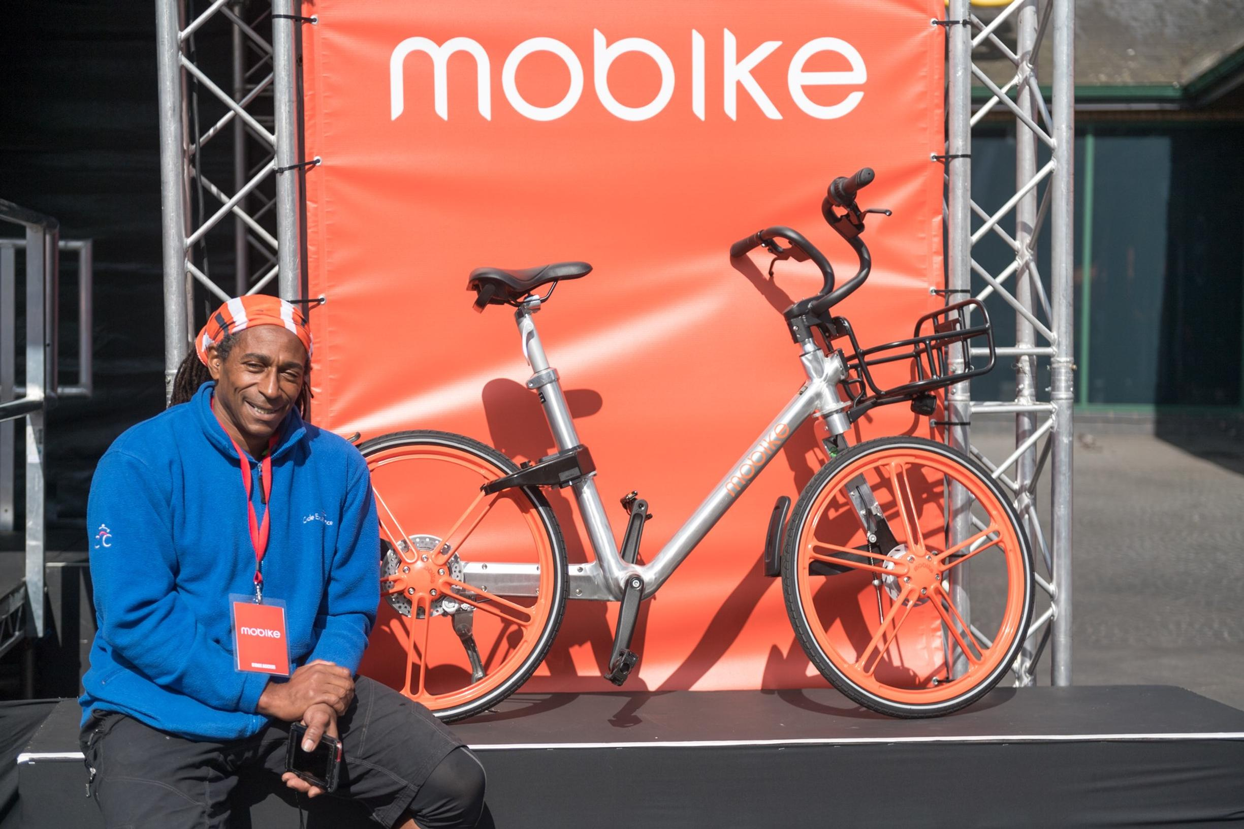 Ealing`s Cycle Centre co-ordinator Ian Perkins at the launch of Mobike in Acton