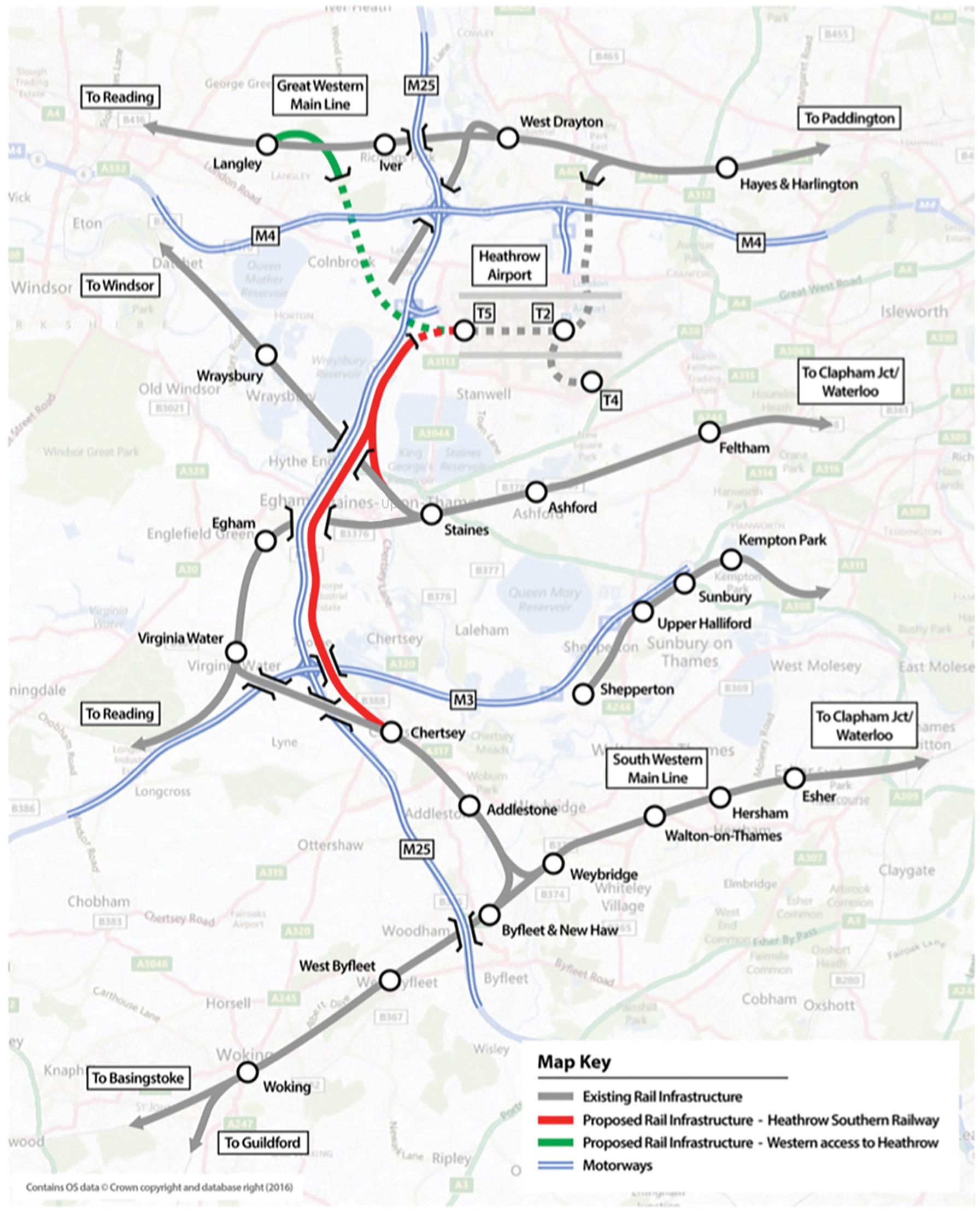 The Southern rail access proposed by Heathrow Southern Railway Ltd in red