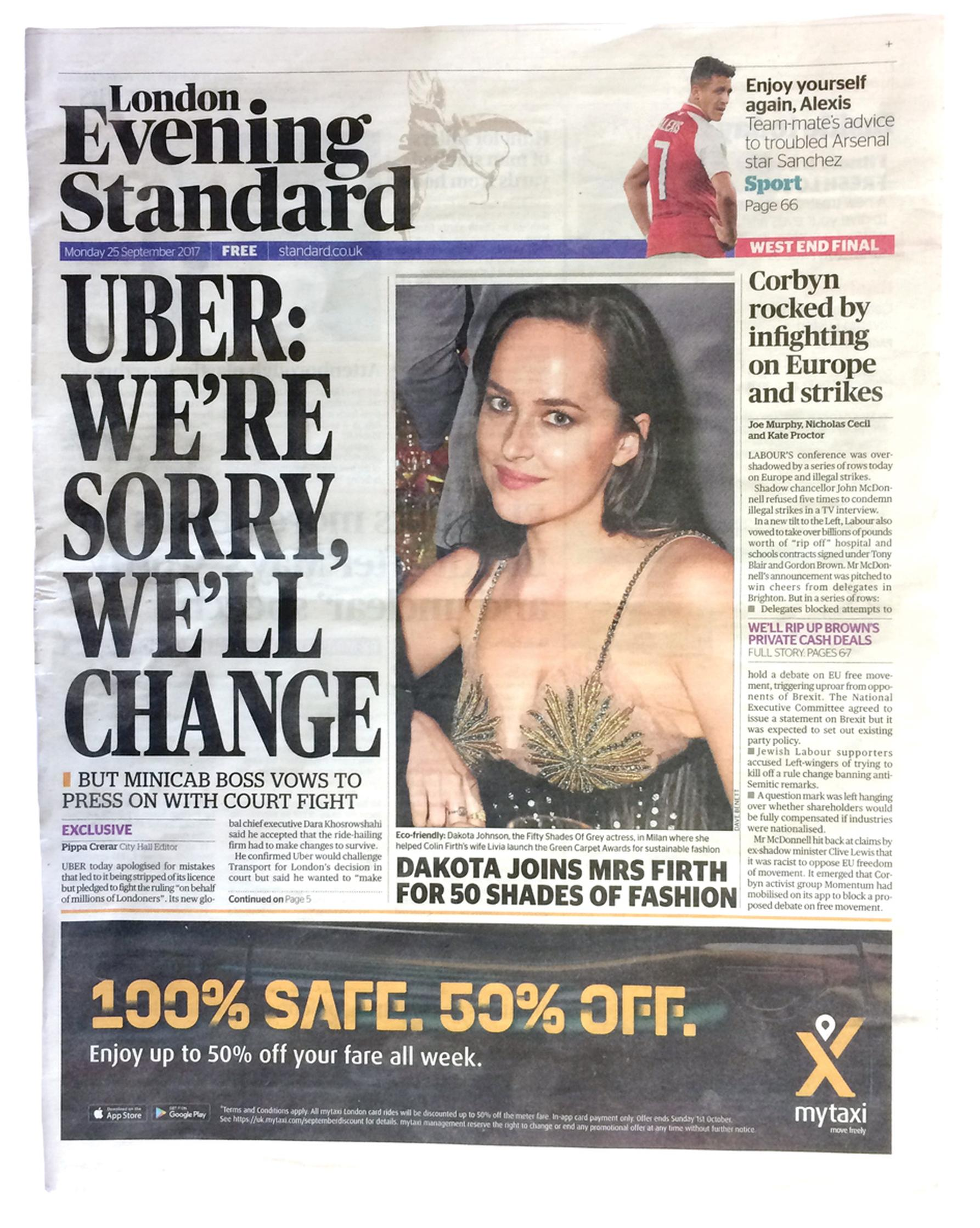 On 25 September London's Evening Standard devoted four full pages to Uber's dispute with Transport for London