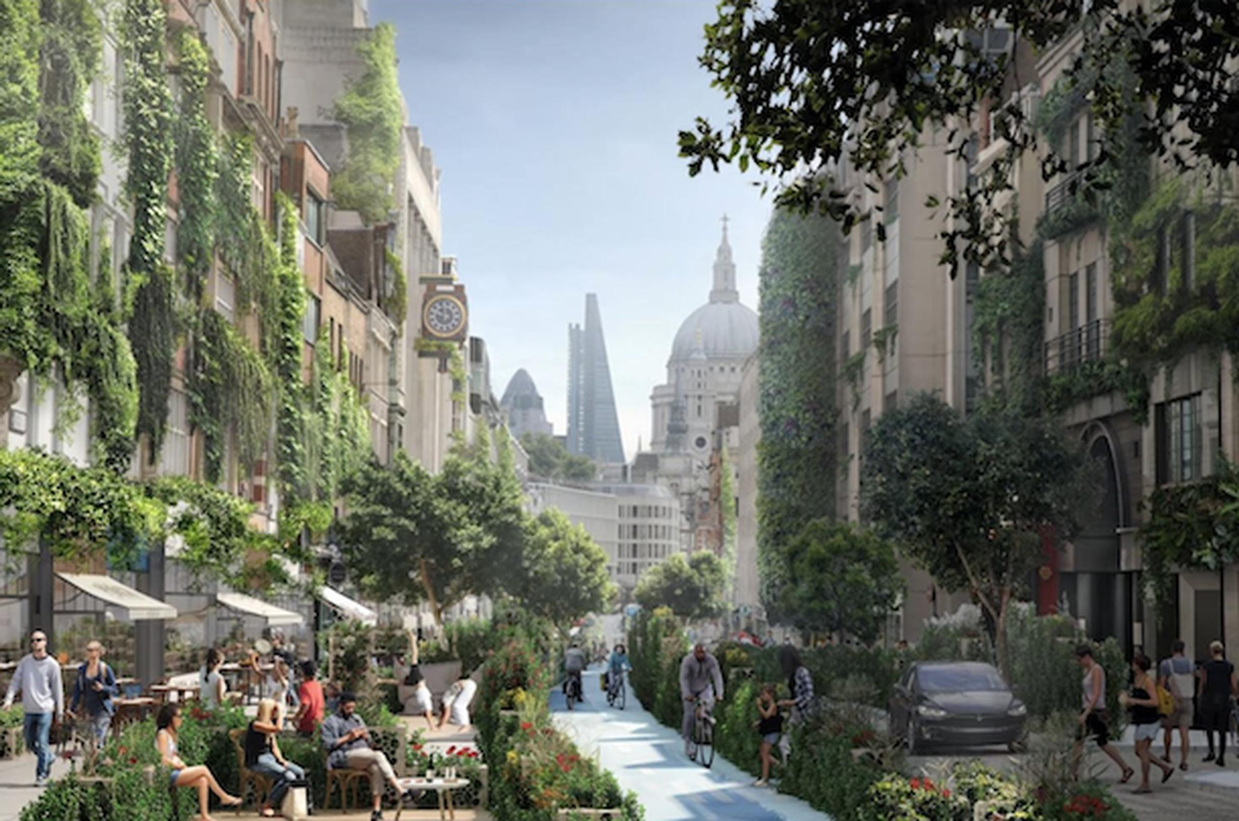 WATG`s visualisation of how Fleet Street could look using thee Green Block approach