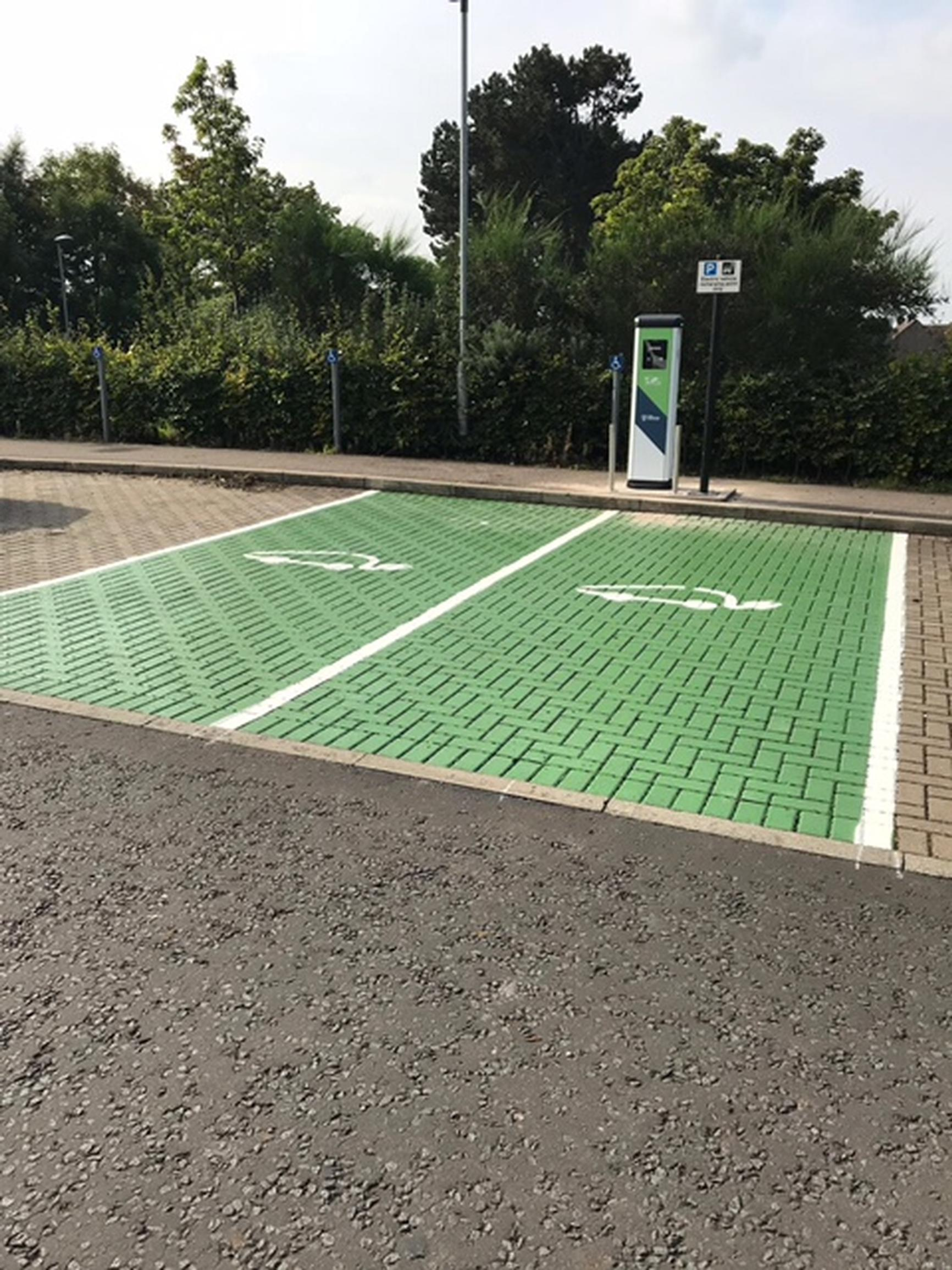 EV charging spaces at Drumbrae Library Hub in Edinburgh