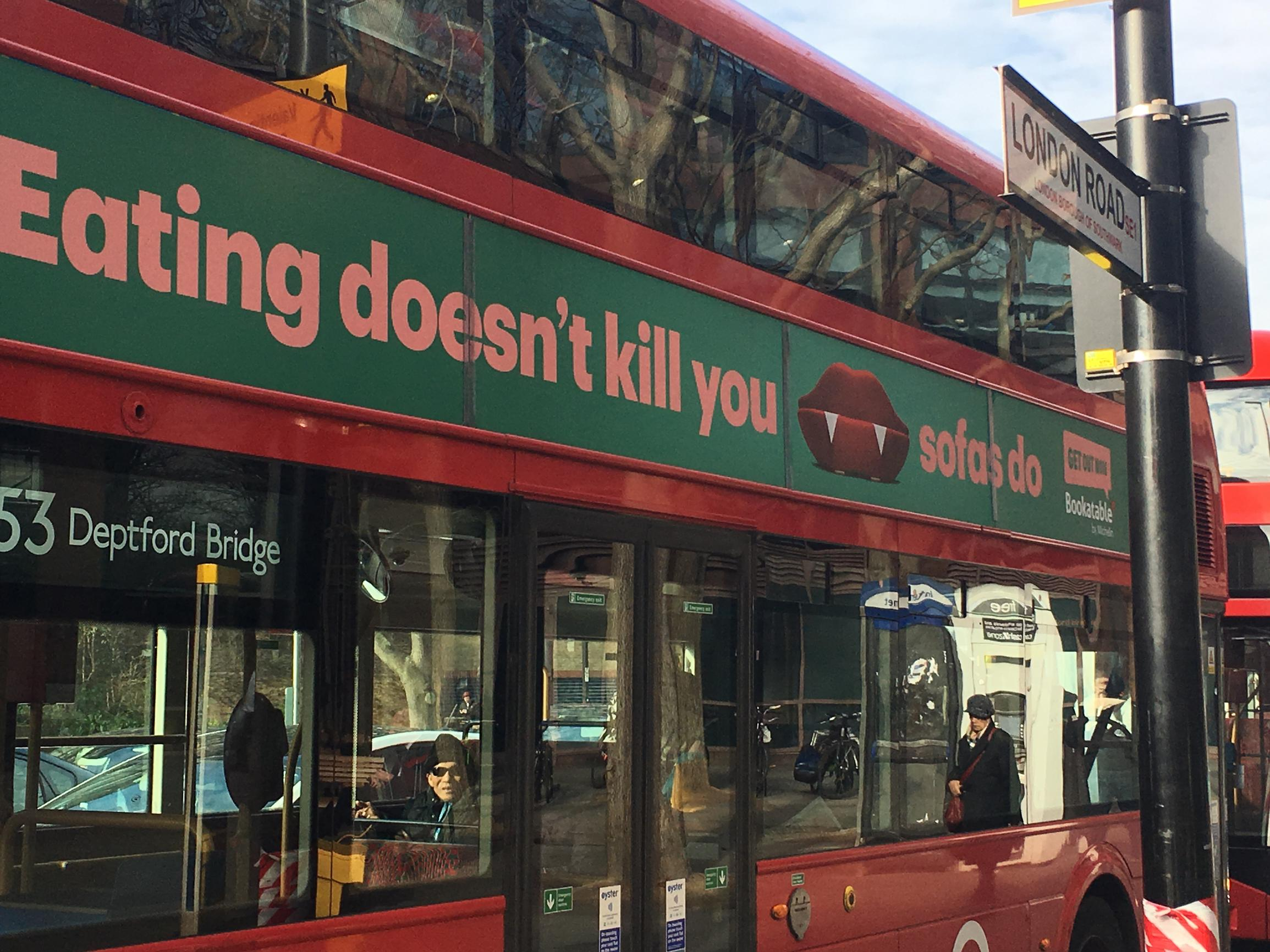 Low emission buses are improving London`s air quality – and the ads on the side are right on message too...