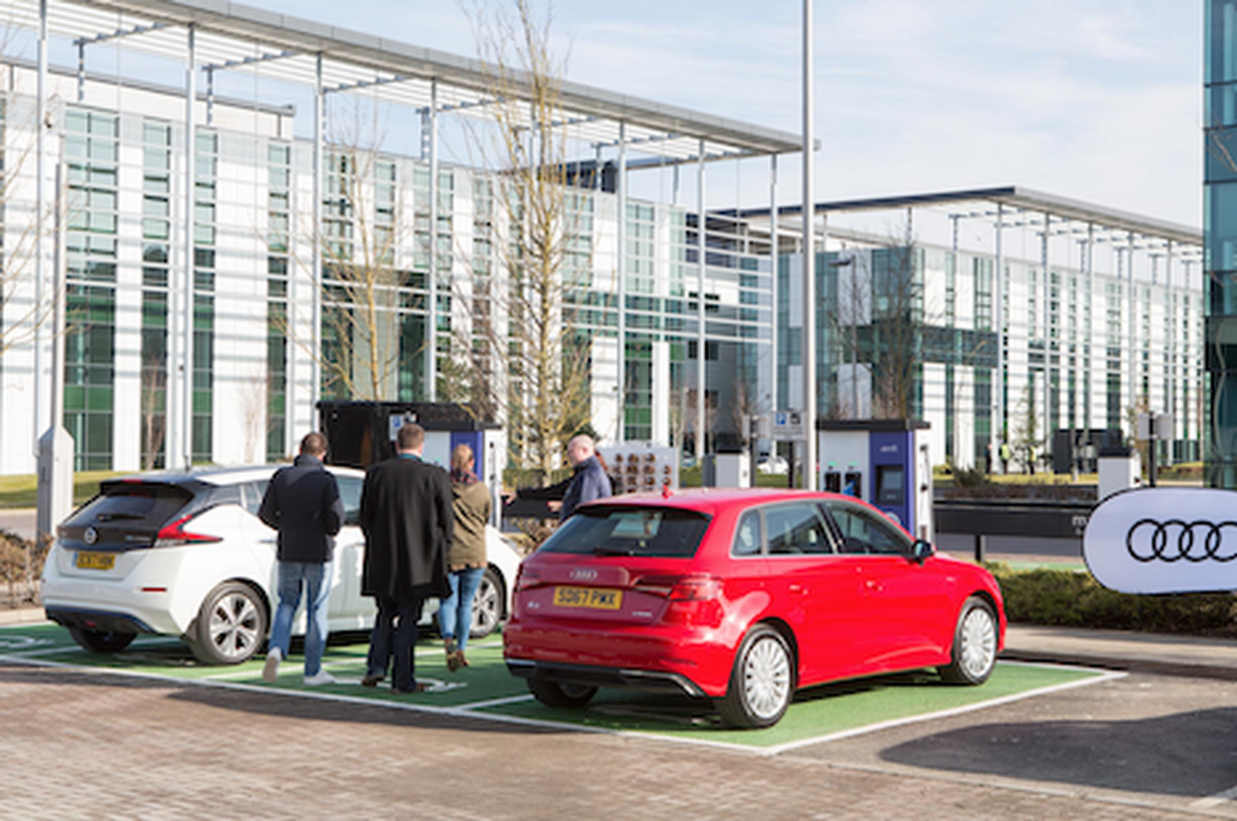 Business park offers top-ups for electric vehicle drivers on
