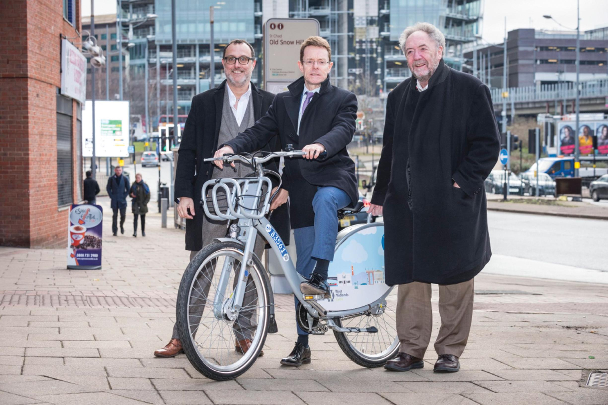 Left to right: Nextbike UK MDJulian Scriven; West Midlands mayor Andy Street; and West Midlands Combined Authority's portfolio holder for transport, Roger Lawrence
