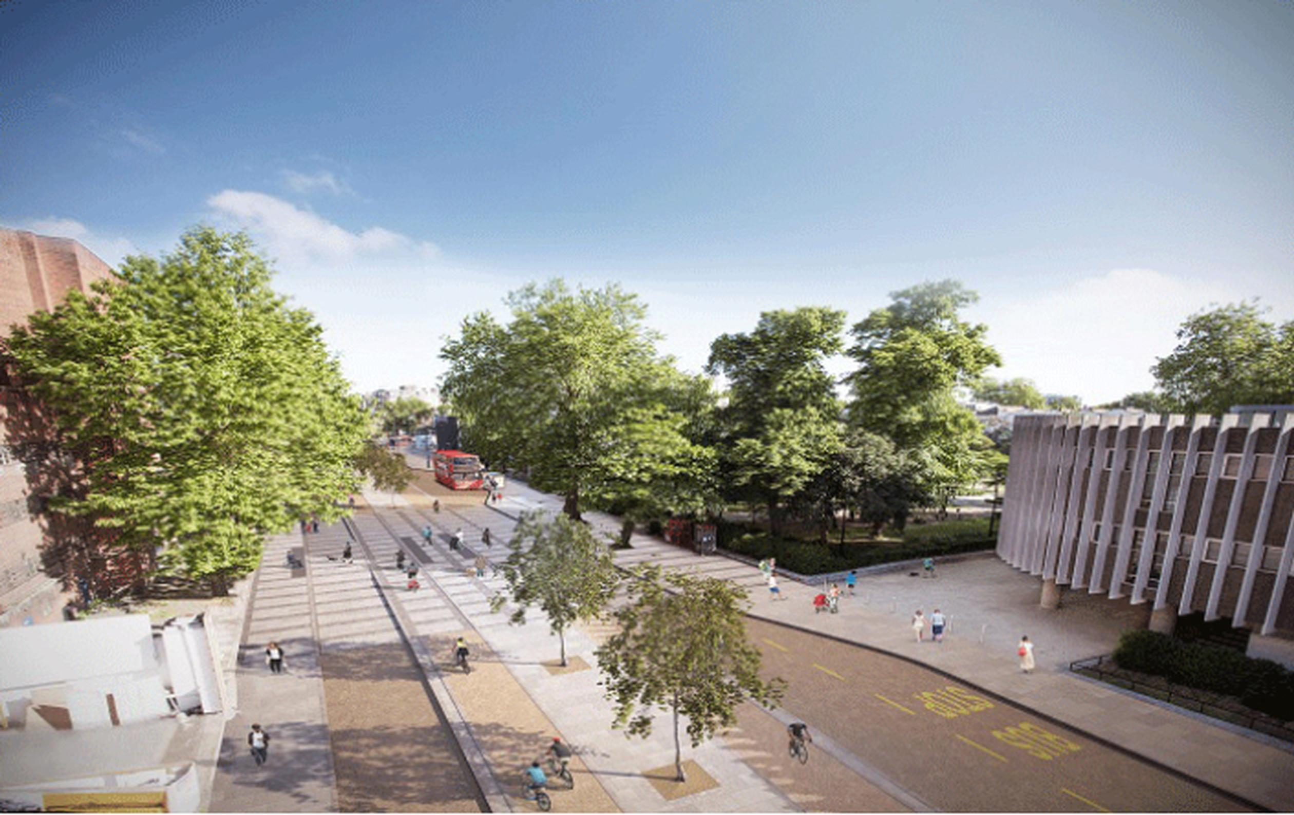 Artist`s impression of Cycle Superhighway 11 looking north along Avenue Road, Swiss Cottage